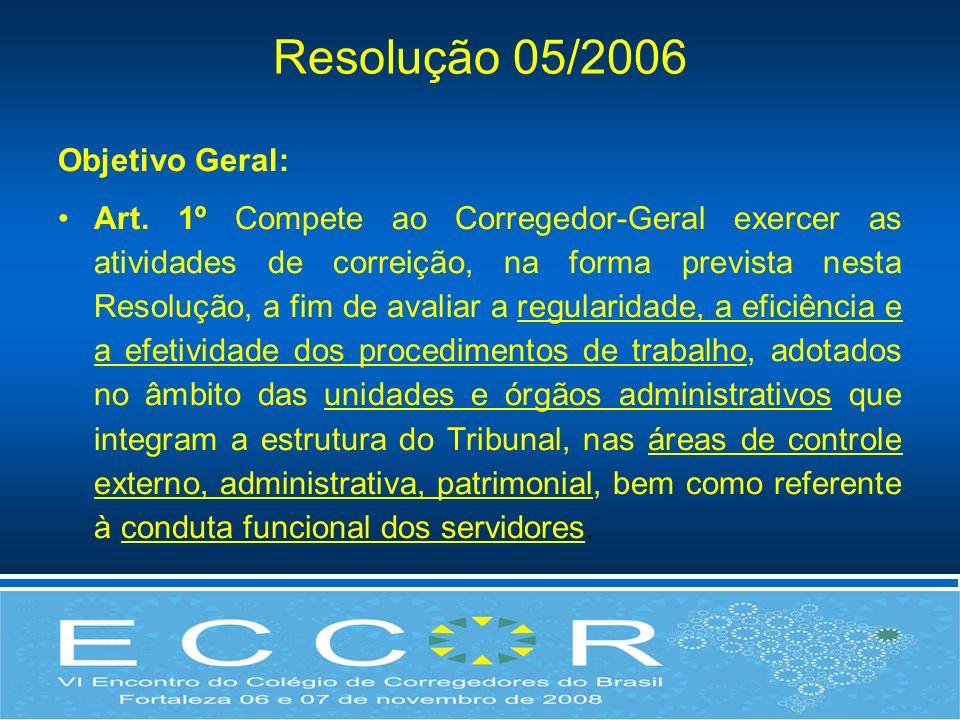 Resolução 05/2006 Objetivo Geral: Art. 1º Compete ao Corregedor-Geral exercer as atividades de correição, na forma prevista nesta Resolução, a fim de