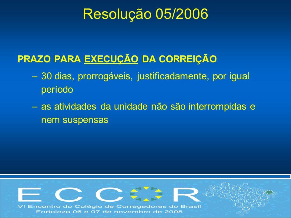 Resolução 05/2006 PRAZO PARA EXECUÇÃO DA CORREIÇÃO –30 dias, prorrogáveis, justificadamente, por igual período –as atividades da unidade não são inter