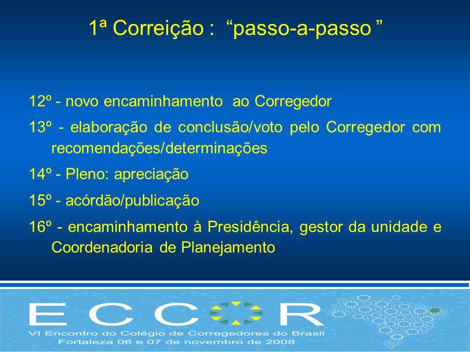 1ª Correição : passo-a-passo 12º - novo encaminhamento ao Corregedor 13º - elaboração de conclusão/voto pelo Corregedor com recomendações/determinaçõe