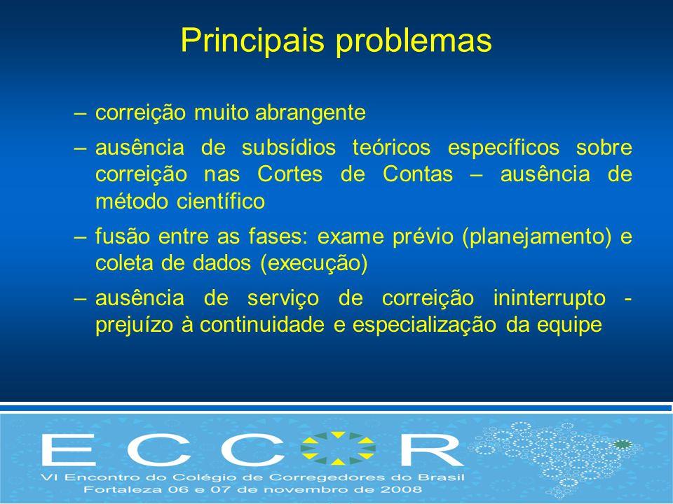 Principais problemas –correição muito abrangente –ausência de subsídios teóricos específicos sobre correição nas Cortes de Contas – ausência de método