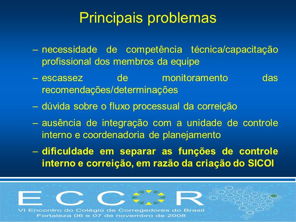 Principais problemas –necessidade de competência técnica/capacitação profissional dos membros da equipe –escassez de monitoramento das recomendações/d