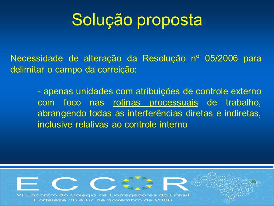 Necessidade de alteração da Resolução nº 05/2006 para delimitar o campo da correição: - apenas unidades com atribuições de controle externo com foco n
