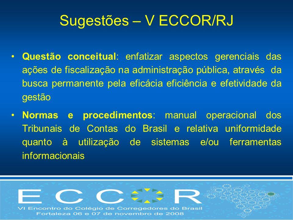 Sugestões – V ECCOR/RJ Questão conceitual: enfatizar aspectos gerenciais das ações de fiscalização na administração pública, através da busca permanen