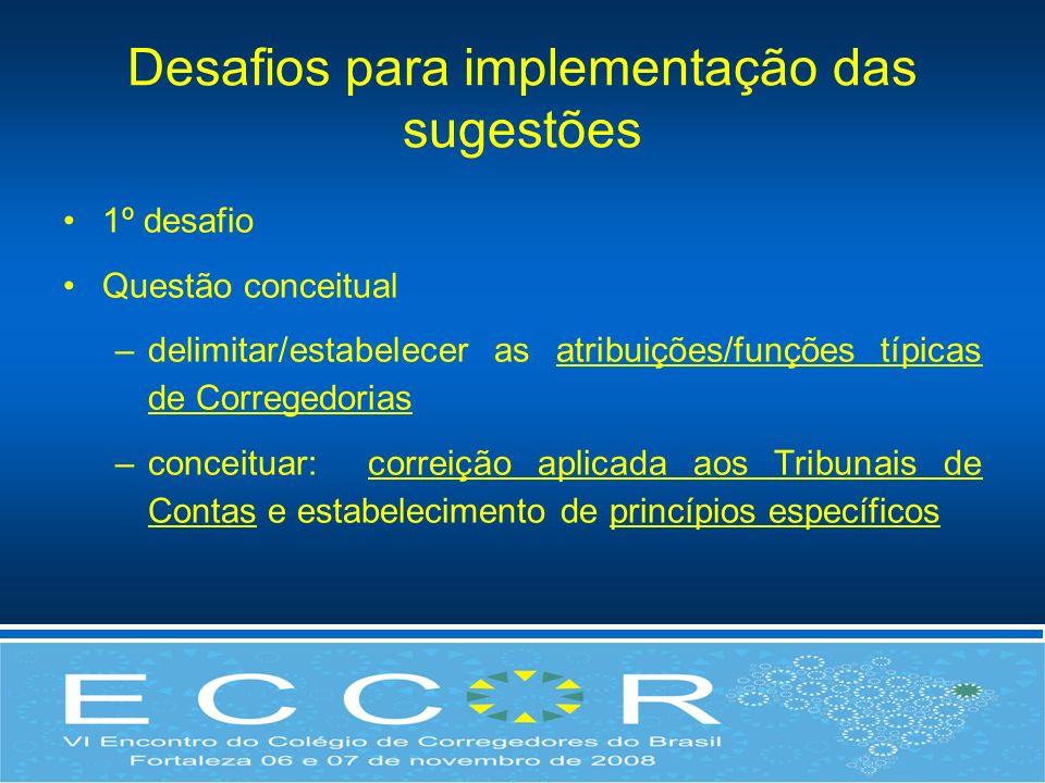 Desafios para implementação das sugestões 1º desafio Questão conceitual –delimitar/estabelecer as atribuições/funções típicas de Corregedorias –concei