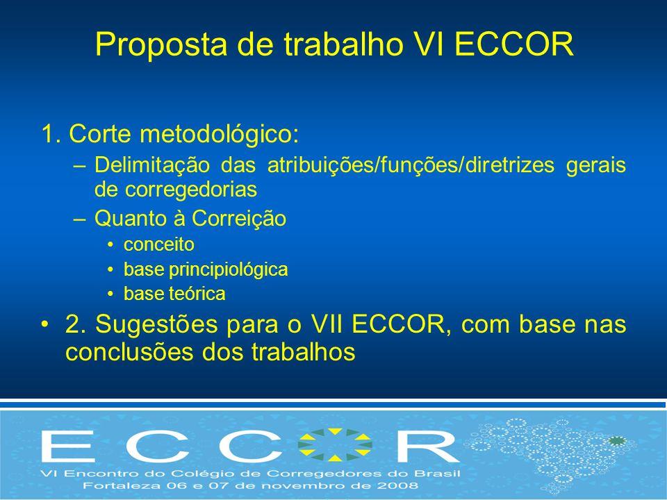Proposta de trabalho VI ECCOR 1. Corte metodológico: –Delimitação das atribuições/funções/diretrizes gerais de corregedorias –Quanto à Correição conce