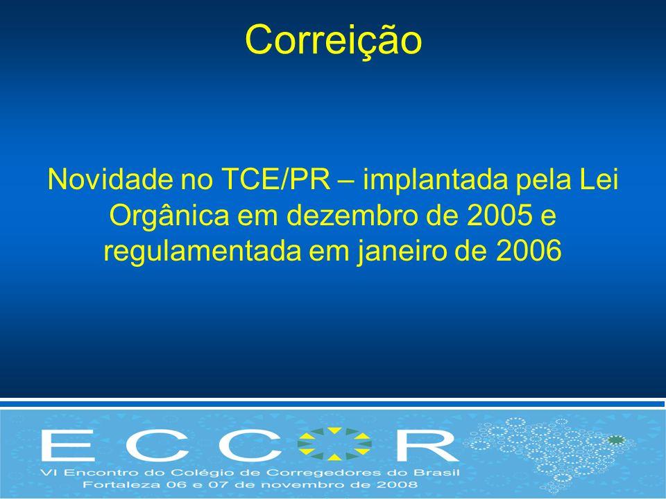 Correição Novidade no TCE/PR – implantada pela Lei Orgânica em dezembro de 2005 e regulamentada em janeiro de 2006