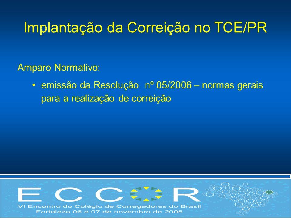 Implantação da Correição no TCE/PR Amparo Normativo: emissão da Resolução nº 05/2006 – normas gerais para a realização de correição