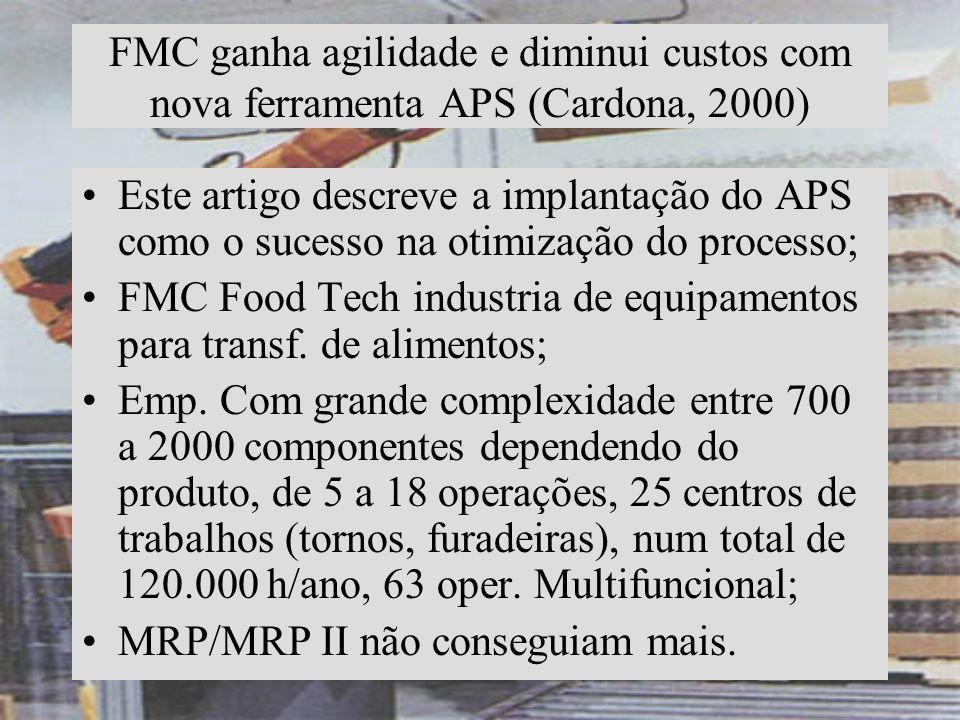 FMC ganha agilidade e diminui custos com nova ferramenta APS (Cardona, 2000) Este artigo descreve a implantação do APS como o sucesso na otimização do