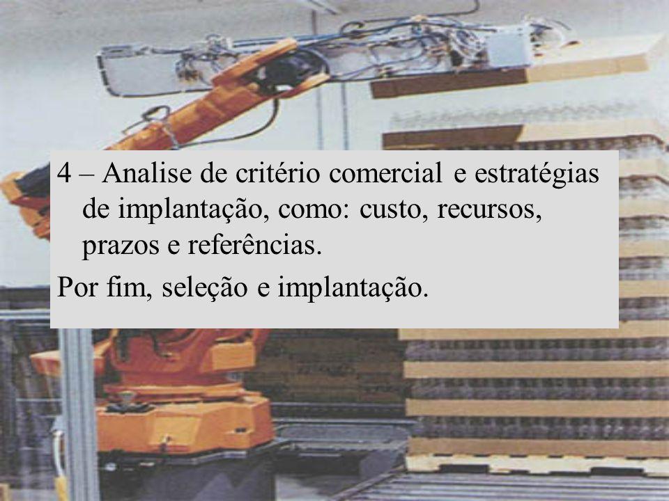 4 – Analise de critério comercial e estratégias de implantação, como: custo, recursos, prazos e referências. Por fim, seleção e implantação.