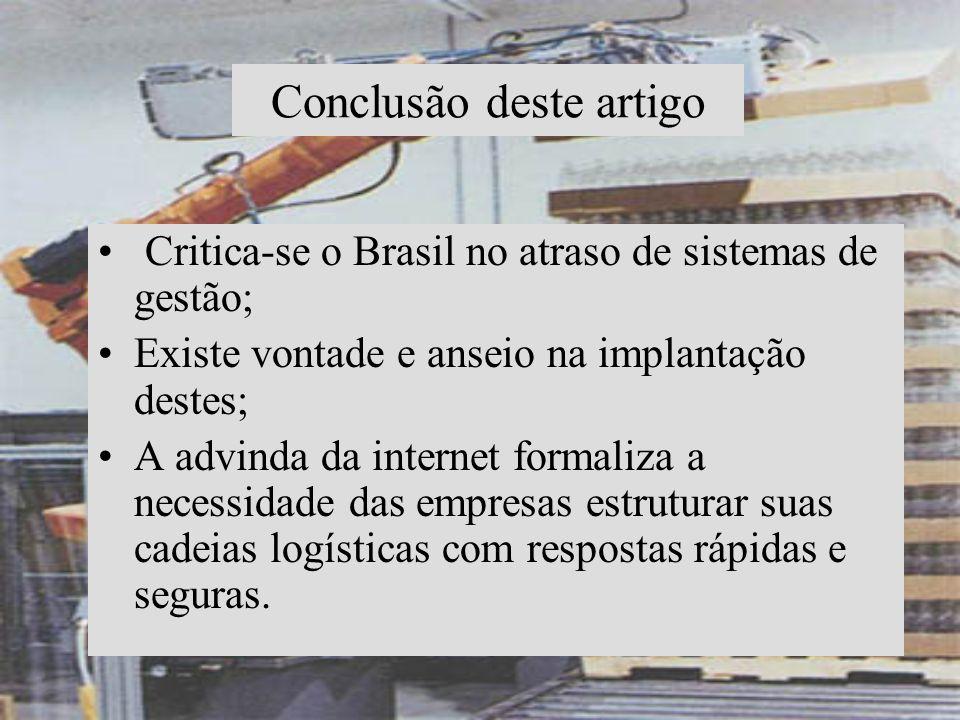 Conclusão deste artigo Critica-se o Brasil no atraso de sistemas de gestão; Existe vontade e anseio na implantação destes; A advinda da internet forma