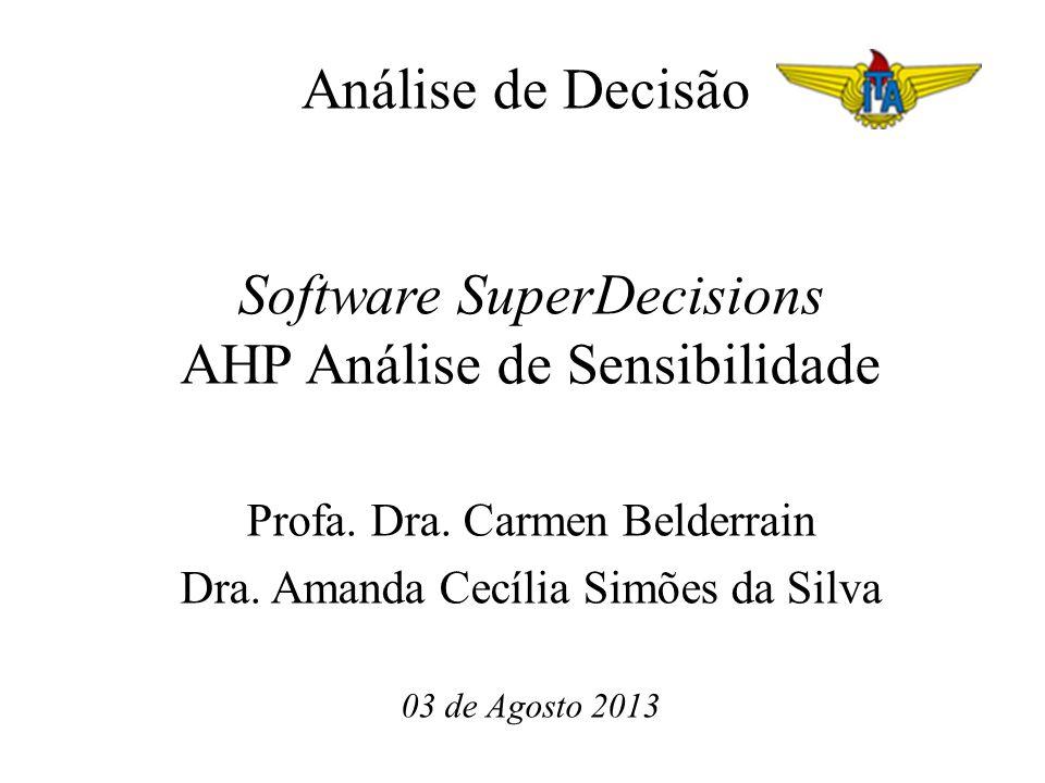 Análise de Decisão Software SuperDecisions AHP Análise de Sensibilidade Profa. Dra. Carmen Belderrain Dra. Amanda Cecília Simões da Silva 03 de Agosto