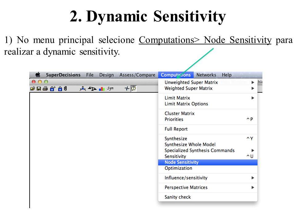 2. Dynamic Sensitivity 1) No menu principal selecione Computations> Node Sensitivity para realizar a dynamic sensitivity.
