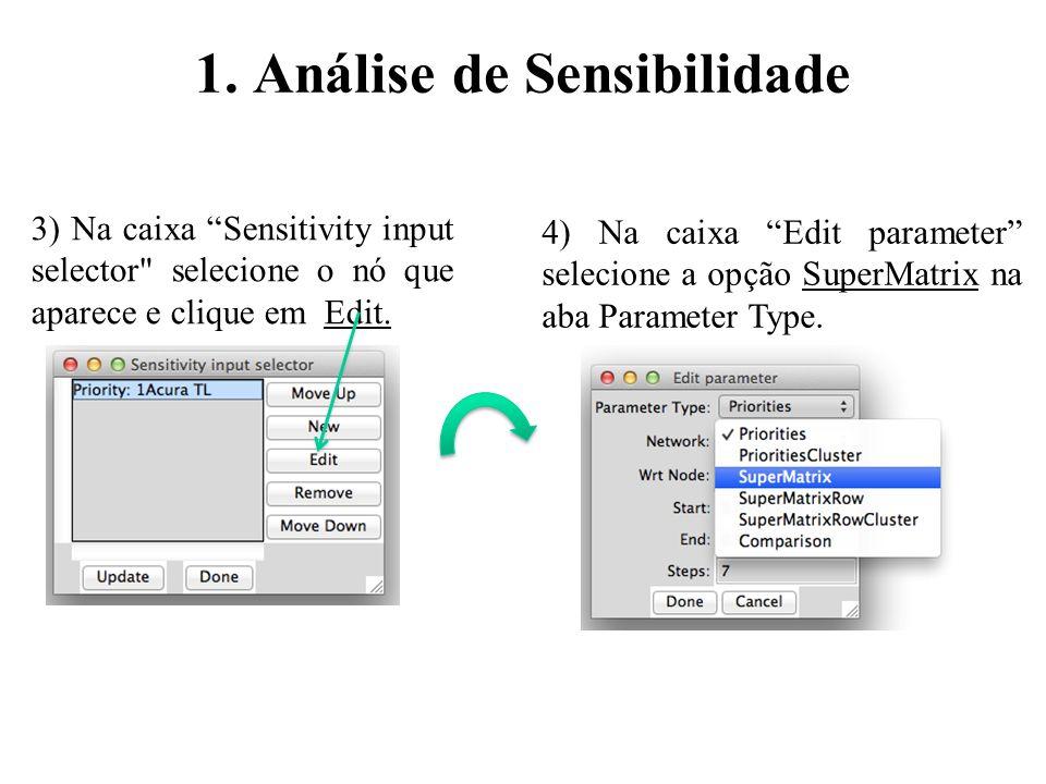 3) Na caixa Sensitivity input selector