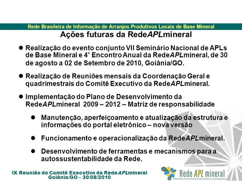 Rede Brasileira de Informação de Arranjos Produtivos Locais de Base Mineral IX Reunião do Comitê Executivo da RedeAPLmineral Goiânia/GO – 30/08/2010 A