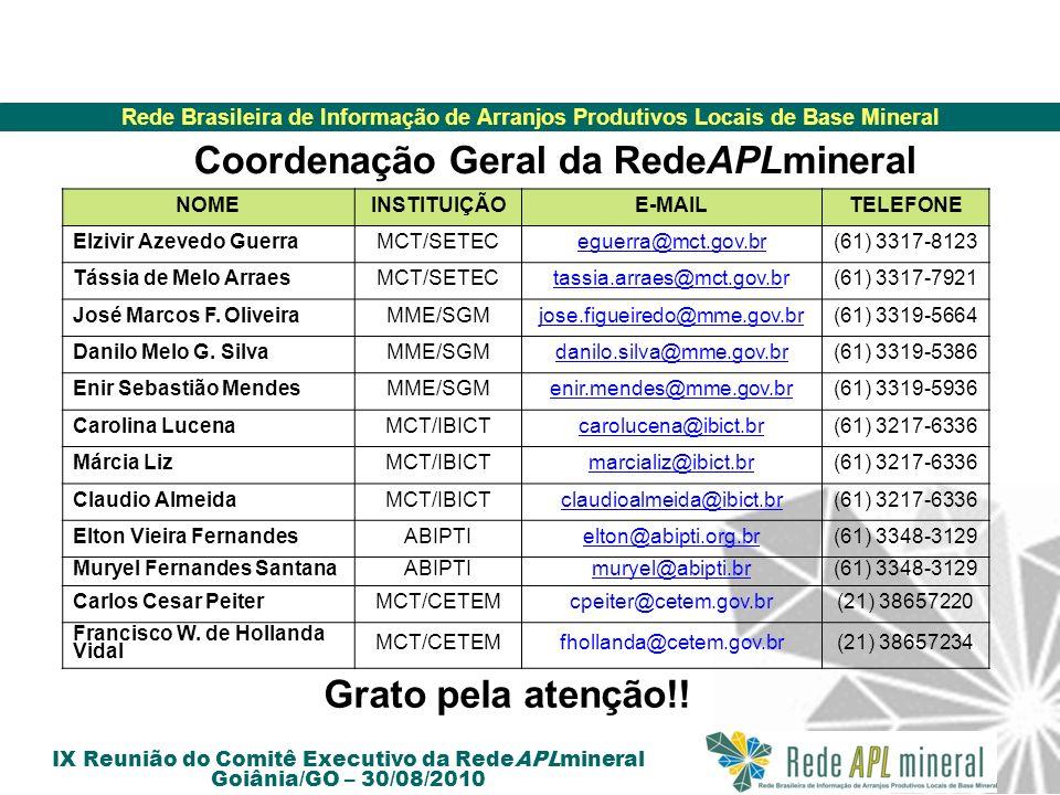 Rede Brasileira de Informação de Arranjos Produtivos Locais de Base Mineral IX Reunião do Comitê Executivo da RedeAPLmineral Goiânia/GO – 30/08/2010 N
