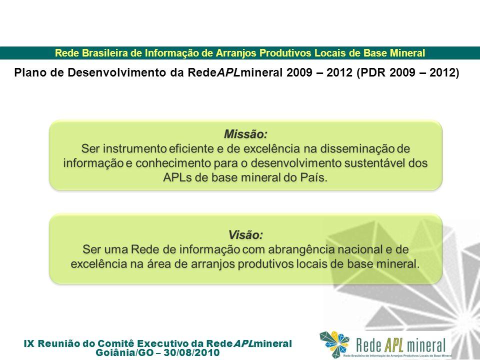 Rede Brasileira de Informação de Arranjos Produtivos Locais de Base Mineral IX Reunião do Comitê Executivo da RedeAPLmineral Goiânia/GO – 30/08/2010 Objetivos Estratégicos: Implementar estratégias e instrumentos que promovam o aperfeiçoamento do modelo de gestão..