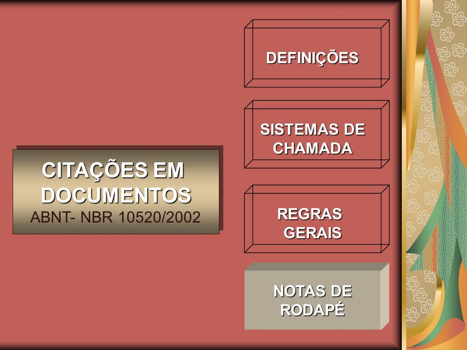 DEFINIÇÕES SISTEMAS DE CHAMADA REGRASGERAIS CITAÇÕES EM DOCUMENTOS ABNT- NBR 10520/2002 CITAÇÕES EM DOCUMENTOS ABNT- NBR 10520/2002 NOTAS DE RODAPÉ
