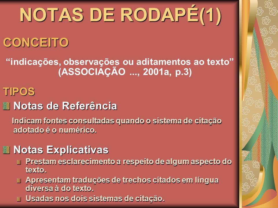 NOTAS DE RODAPÉ(1) CONCEITO indicações, observações ou aditamentos ao texto (ASSOCIAÇÃO..., 2001a, p.3)TIPOS Notas de Referência Indicam fontes consul