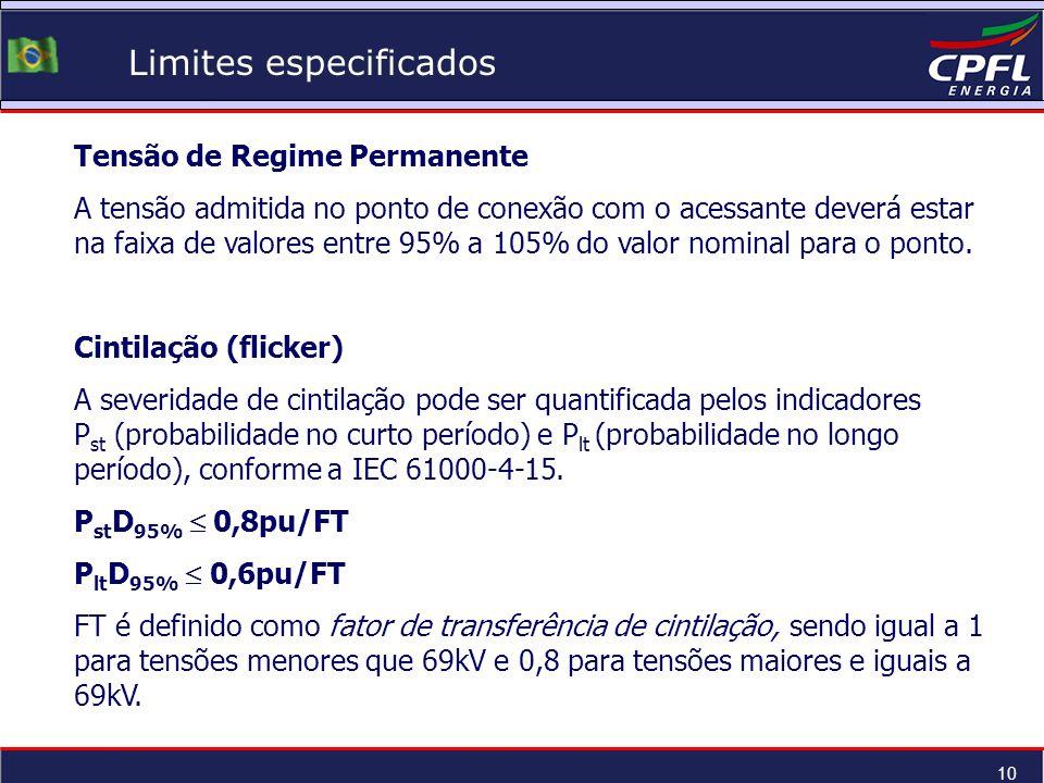 10 Limites especificados Tensão de Regime Permanente A tensão admitida no ponto de conexão com o acessante deverá estar na faixa de valores entre 95%