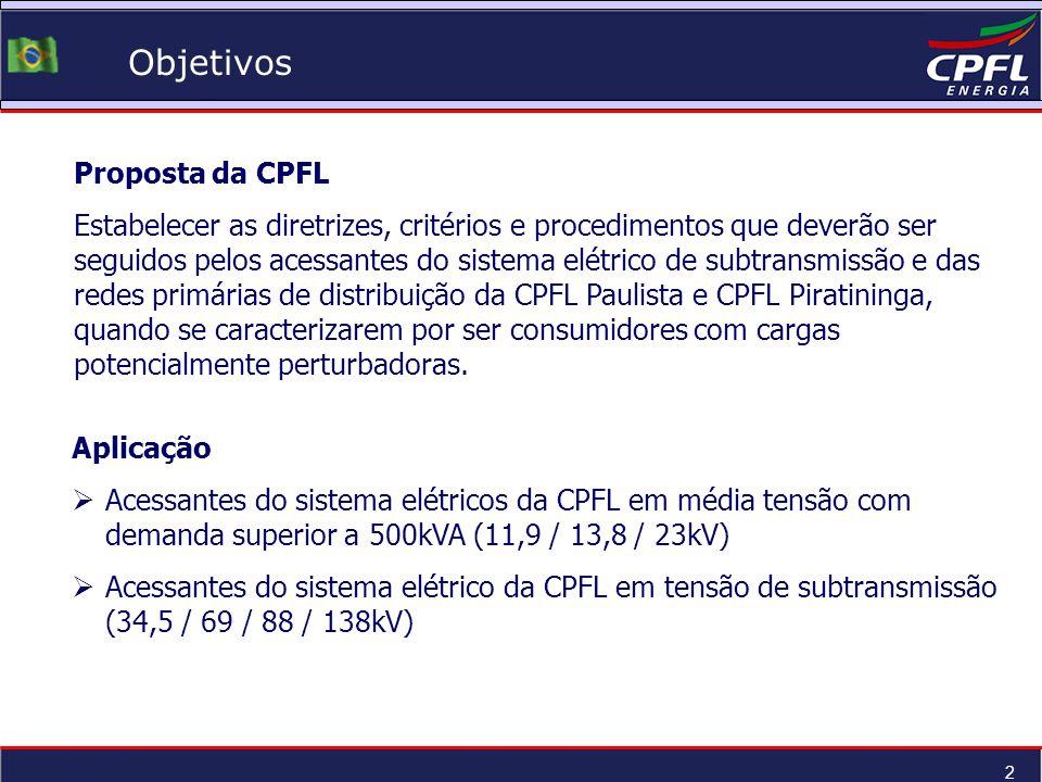 2 Objetivos Proposta da CPFL Estabelecer as diretrizes, critérios e procedimentos que deverão ser seguidos pelos acessantes do sistema elétrico de sub