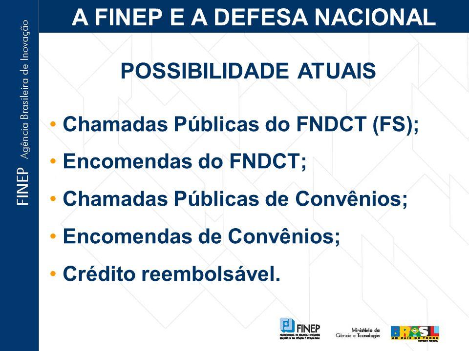 A FINEP E A DEFESA NACIONAL Relação histórica; 2002 – reaproximação: offset; 2003 – Protocolo de Intenções MD-MCT; 2004 – criação da Câmara Técnica de C,T&I para a Defesa.