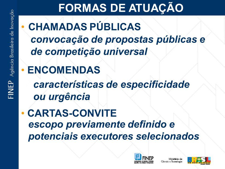 CHAMADAS PÚBLICAS convocação de propostas públicas e de competição universal ENCOMENDAS características de especificidade ou urgência CARTAS-CONVITE escopo previamente definido e potenciais executores selecionados