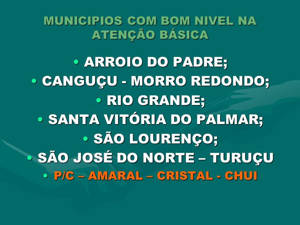 MUNICIPIOS COM BOM NIVEL NA ATENÇÃO BÁSICA ARROIO DO PADRE;ARROIO DO PADRE; CANGUÇU - MORRO REDONDO;CANGUÇU - MORRO REDONDO; RIO GRANDE;RIO GRANDE; SA