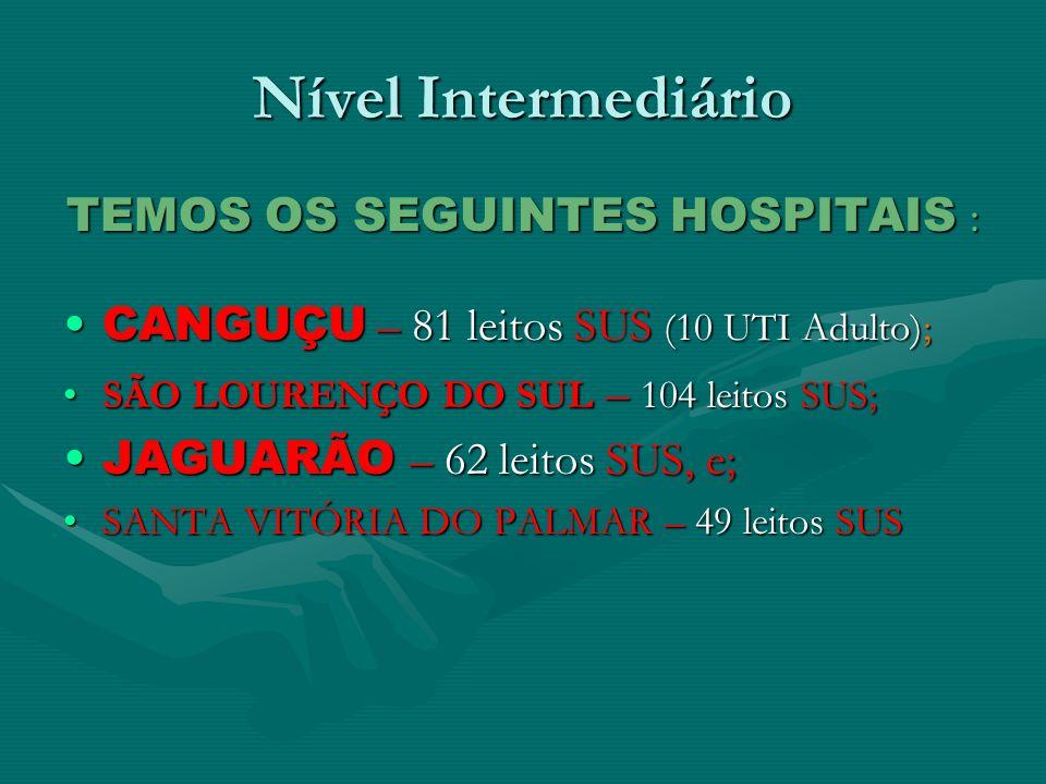 Nível Intermediário TEMOS OS SEGUINTES HOSPITAIS : CANGUÇU – 81 leitos SUS (10 UTI Adulto);CANGUÇU – 81 leitos SUS (10 UTI Adulto); SÃO LOURENÇO DO SU