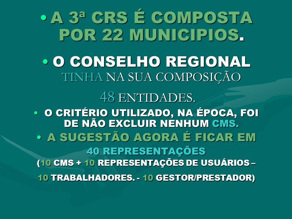 A 3ª CRS É COMPOSTA POR 22 MUNICIPIOS.A 3ª CRS É COMPOSTA POR 22 MUNICIPIOS. O CONSELHO REGIONAL TINHA NA SUA COMPOSIÇÃOO CONSELHO REGIONAL TINHA NA S