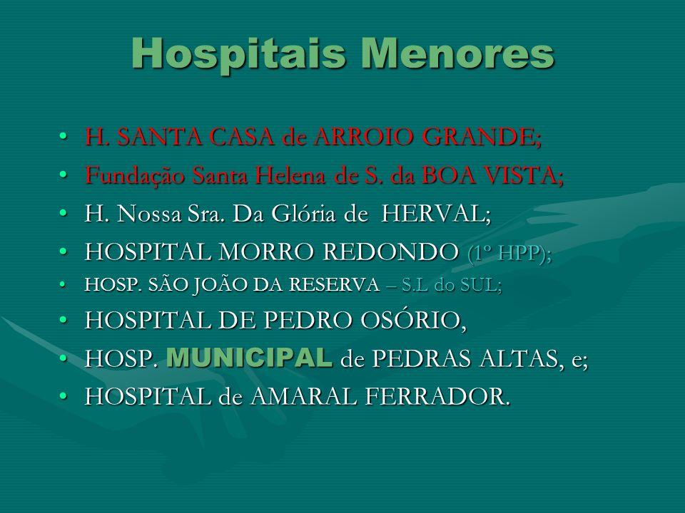 Hospitais Menores H. SANTA CASA de ARROIO GRANDE;H. SANTA CASA de ARROIO GRANDE; Fundação Santa Helena de S. da BOA VISTA;Fundação Santa Helena de S.