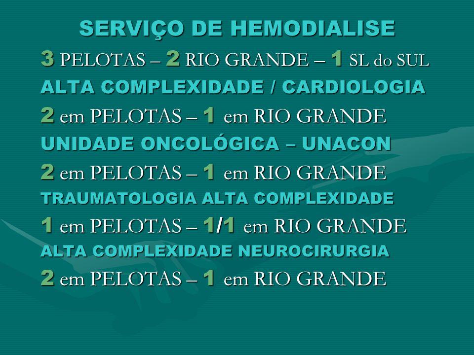 SERVIÇO DE HEMODIALISE 3 PELOTAS – 2 RIO GRANDE – 1 SL do SUL ALTA COMPLEXIDADE / CARDIOLOGIA 2 em PELOTAS – 1 em RIO GRANDE UNIDADE ONCOLÓGICA – UNAC