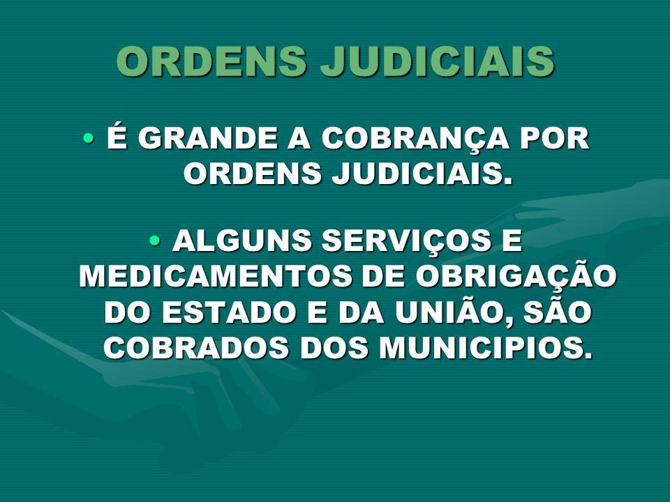 ORDENS JUDICIAIS É GRANDE A COBRANÇA POR ORDENS JUDICIAIS.É GRANDE A COBRANÇA POR ORDENS JUDICIAIS. ALGUNS SERVIÇOS E MEDICAMENTOS DE OBRIGAÇÃO DO EST
