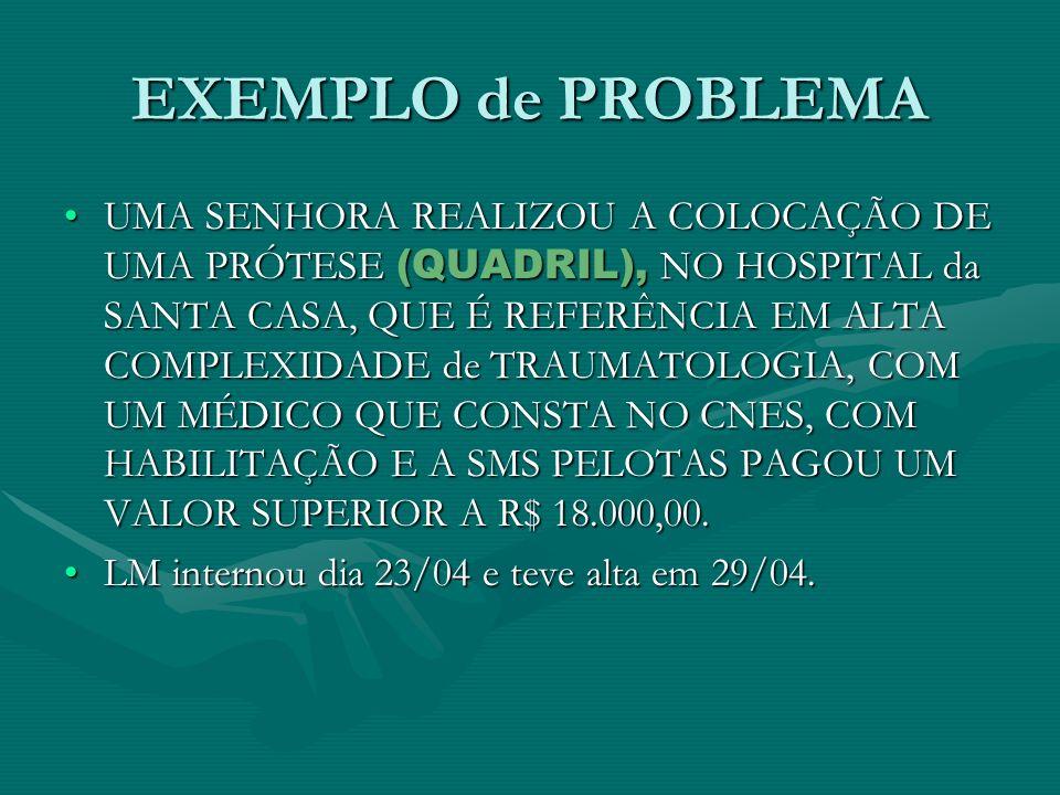 EXEMPLO de PROBLEMA UMA SENHORA REALIZOU A COLOCAÇÃO DE UMA PRÓTESE (QUADRIL), NO HOSPITAL da SANTA CASA, QUE É REFERÊNCIA EM ALTA COMPLEXIDADE de TRA