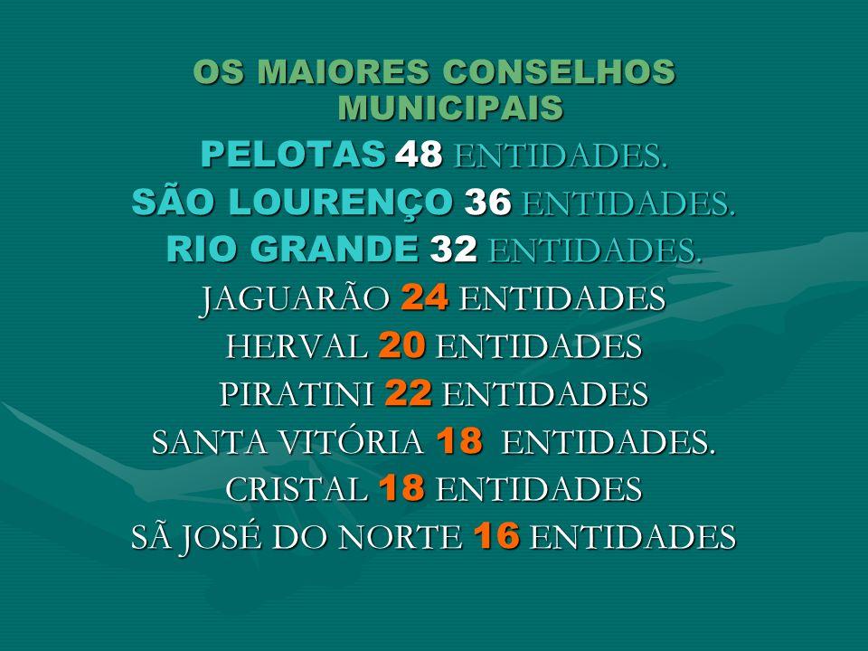 OS MAIORES CONSELHOS MUNICIPAIS PELOTAS 48 ENTIDADES. SÃO LOURENÇO 36 ENTIDADES. RIO GRANDE 32 ENTIDADES. JAGUARÃO 24 ENTIDADES HERVAL 20 ENTIDADES PI