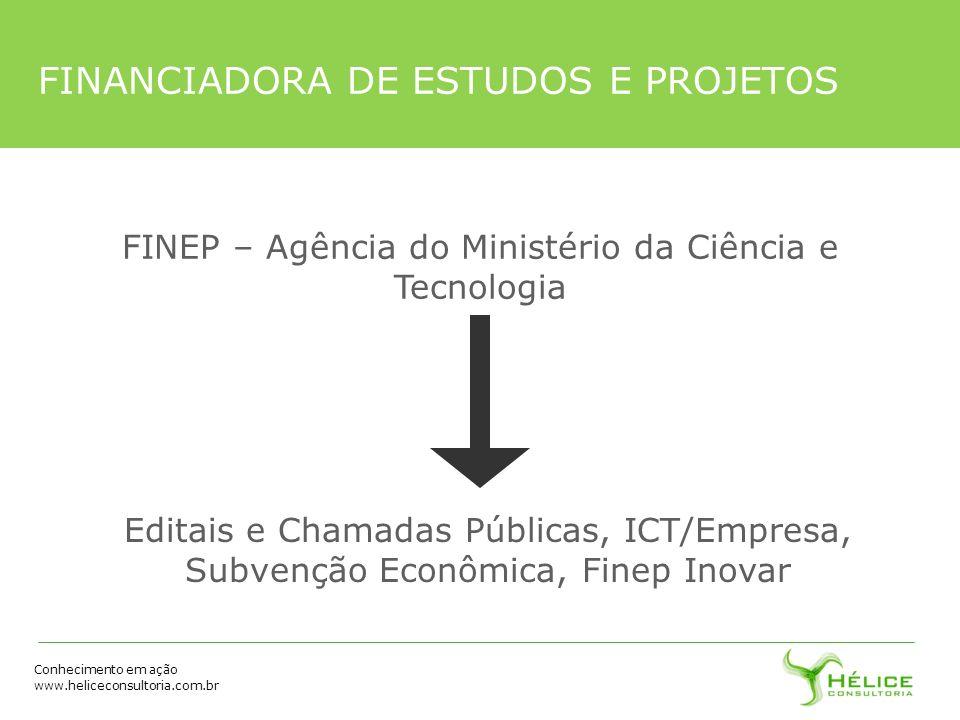 Conhecimento em ação www.heliceconsultoria.com.br FINEP – Agência do Ministério da Ciência e Tecnologia Editais e Chamadas Públicas, ICT/Empresa, Subv