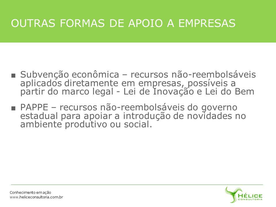 Conhecimento em ação www.heliceconsultoria.com.br OUTRAS FORMAS DE APOIO A EMPRESAS Subvenção econômica – recursos não-reembolsáveis aplicados diretam