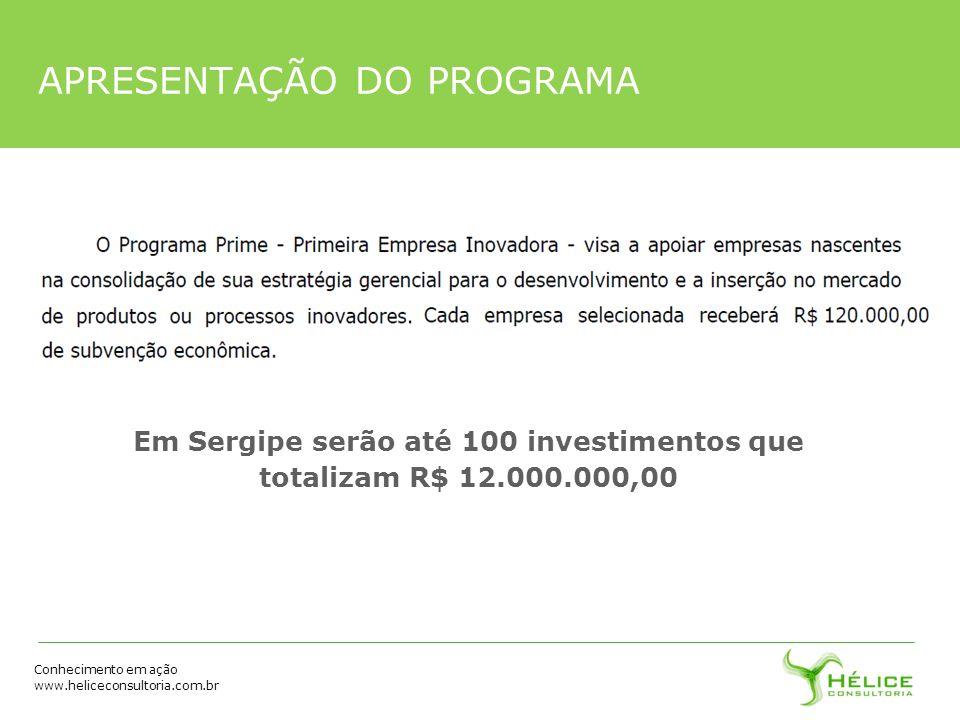 Conhecimento em ação www.heliceconsultoria.com.br APRESENTAÇÃO DO PROGRAMA Em Sergipe serão até 100 investimentos que totalizam R$ 12.000.000,00