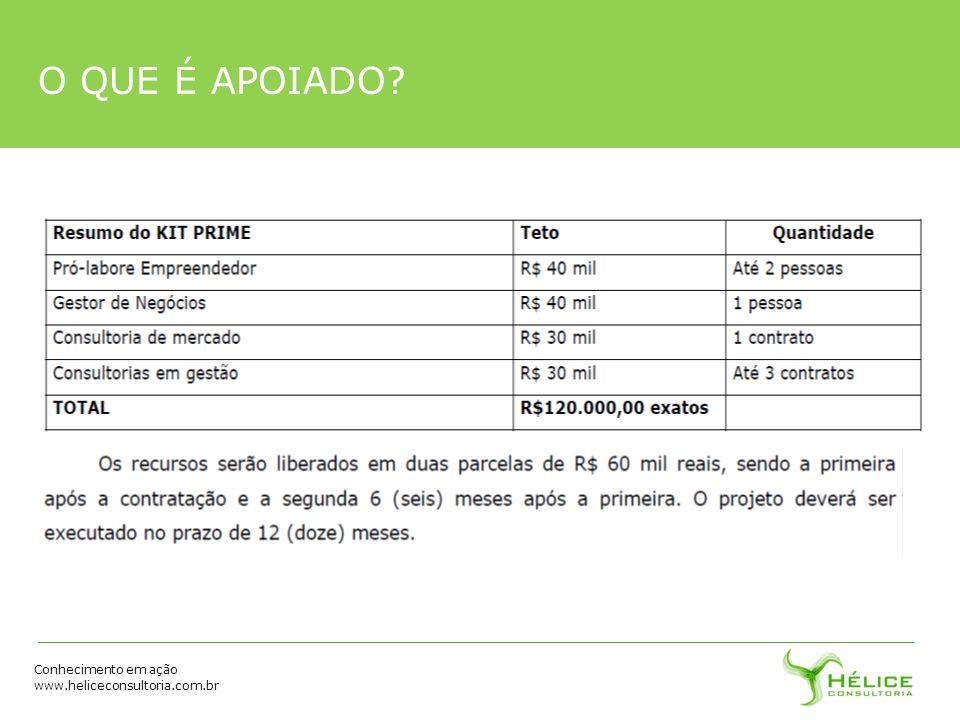 Conhecimento em ação www.heliceconsultoria.com.br O QUE É APOIADO?