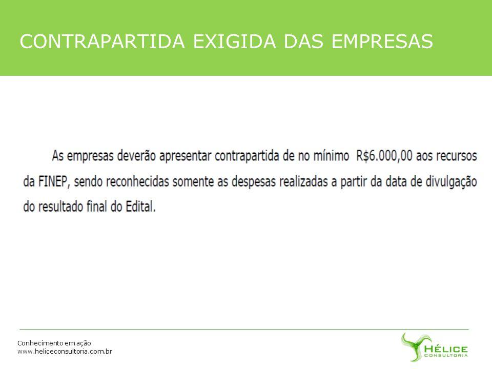 Conhecimento em ação www.heliceconsultoria.com.br CONTRAPARTIDA EXIGIDA DAS EMPRESAS