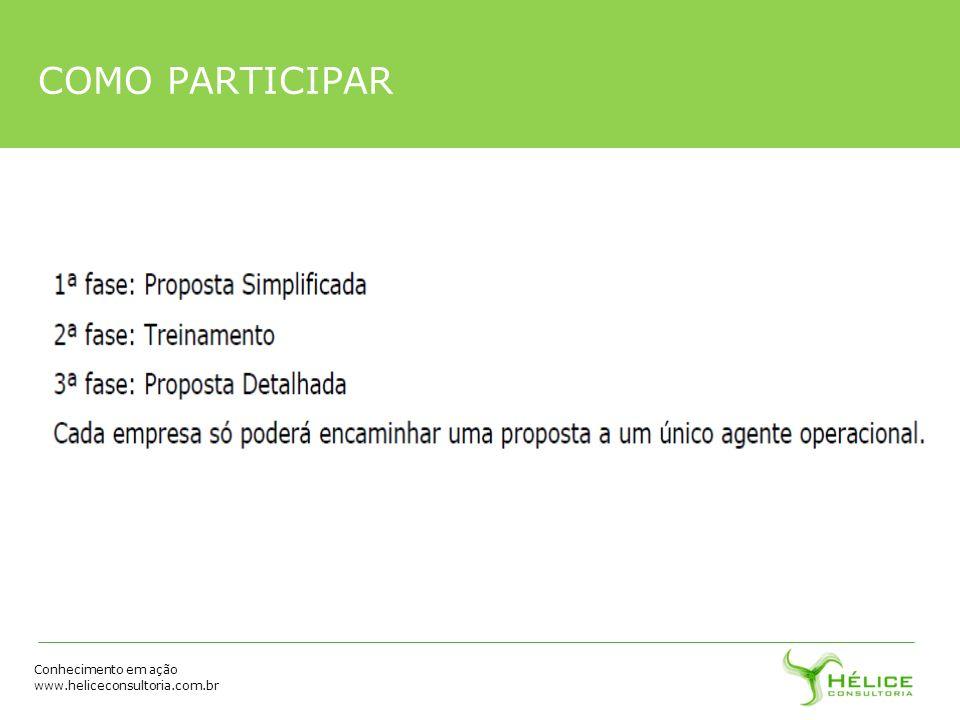 Conhecimento em ação www.heliceconsultoria.com.br COMO PARTICIPAR