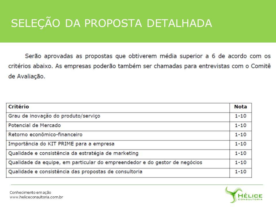 Conhecimento em ação www.heliceconsultoria.com.br SELEÇÃO DA PROPOSTA DETALHADA