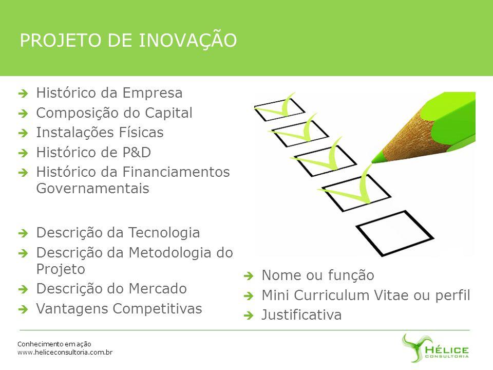 Conhecimento em ação www.heliceconsultoria.com.br Histórico da Empresa Composição do Capital Instalações Físicas Histórico de P&D Histórico da Financi