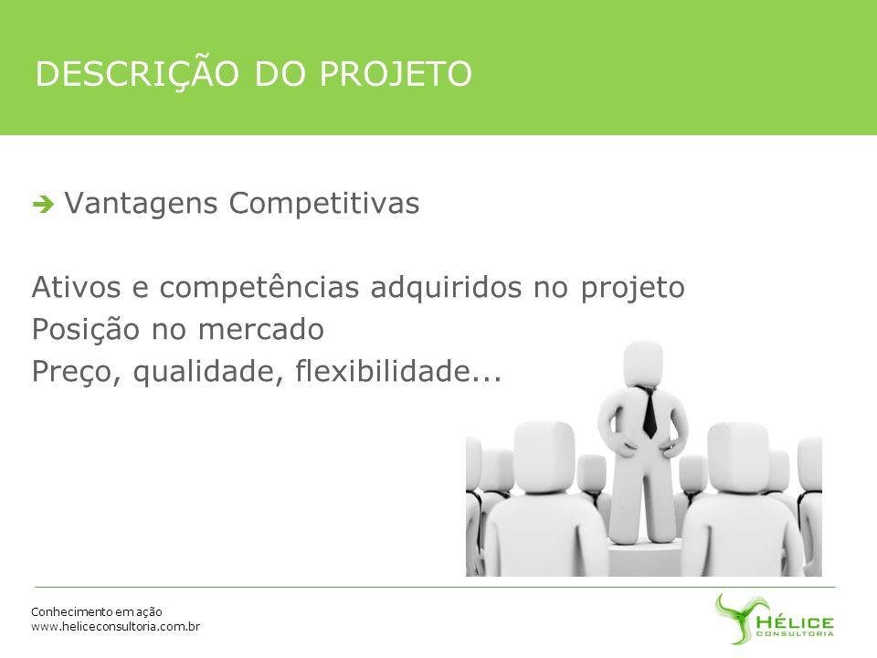 Conhecimento em ação www.heliceconsultoria.com.br DESCRIÇÃO DO PROJETO Vantagens Competitivas Ativos e competências adquiridos no projeto Posição no m