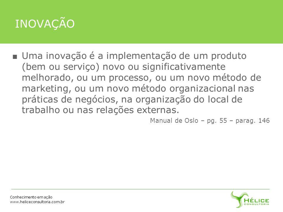 Conhecimento em ação www.heliceconsultoria.com.br INOVAÇÃO Uma inovação é a implementação de um produto (bem ou serviço) novo ou significativamente me