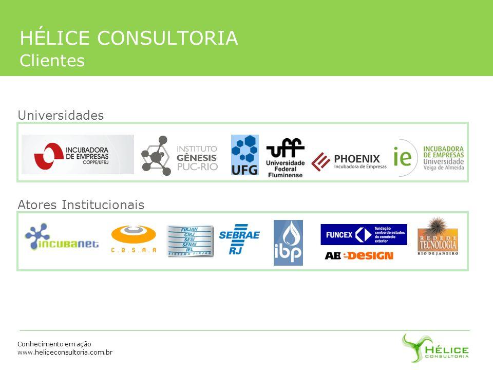 Conhecimento em ação www.heliceconsultoria.com.br HÉLICE CONSULTORIA Clientes Universidades Atores Institucionais