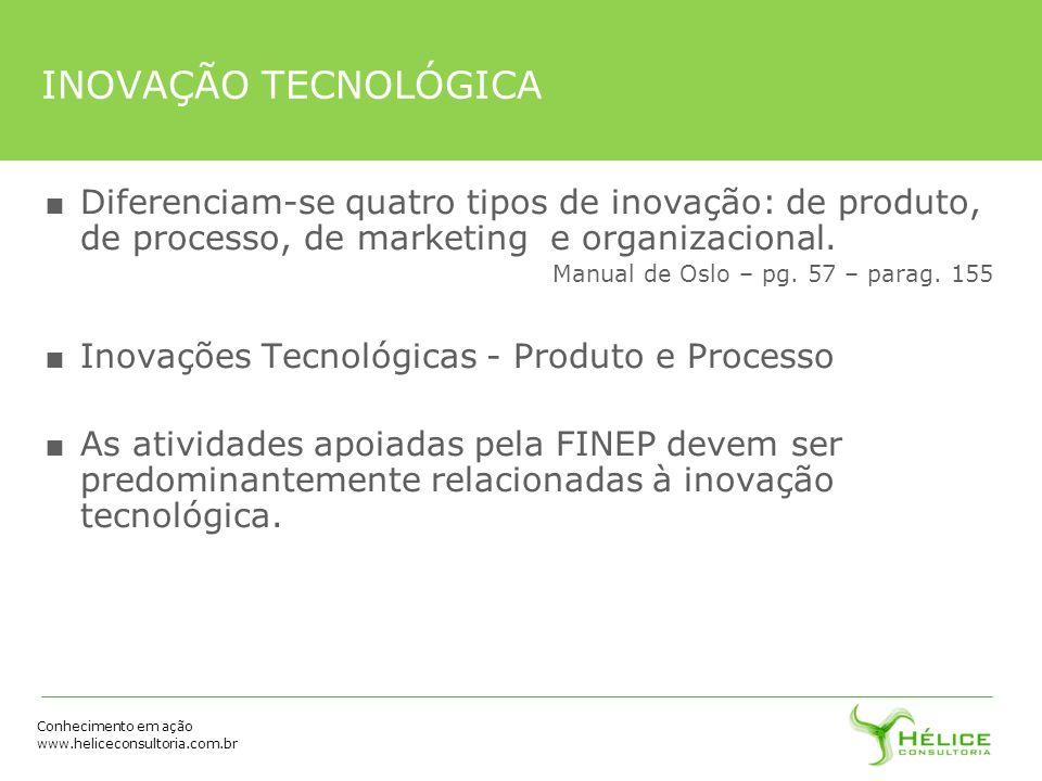 Conhecimento em ação www.heliceconsultoria.com.br INOVAÇÃO TECNOLÓGICA Diferenciam-se quatro tipos de inovação: de produto, de processo, de marketing