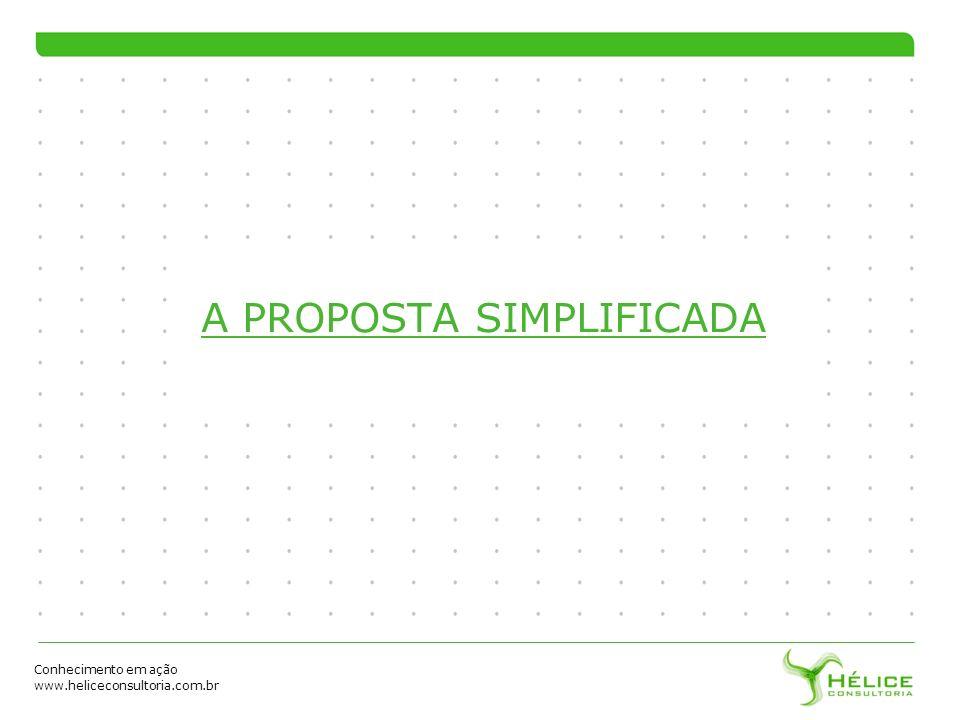 Conhecimento em ação www.heliceconsultoria.com.br A PROPOSTA SIMPLIFICADA