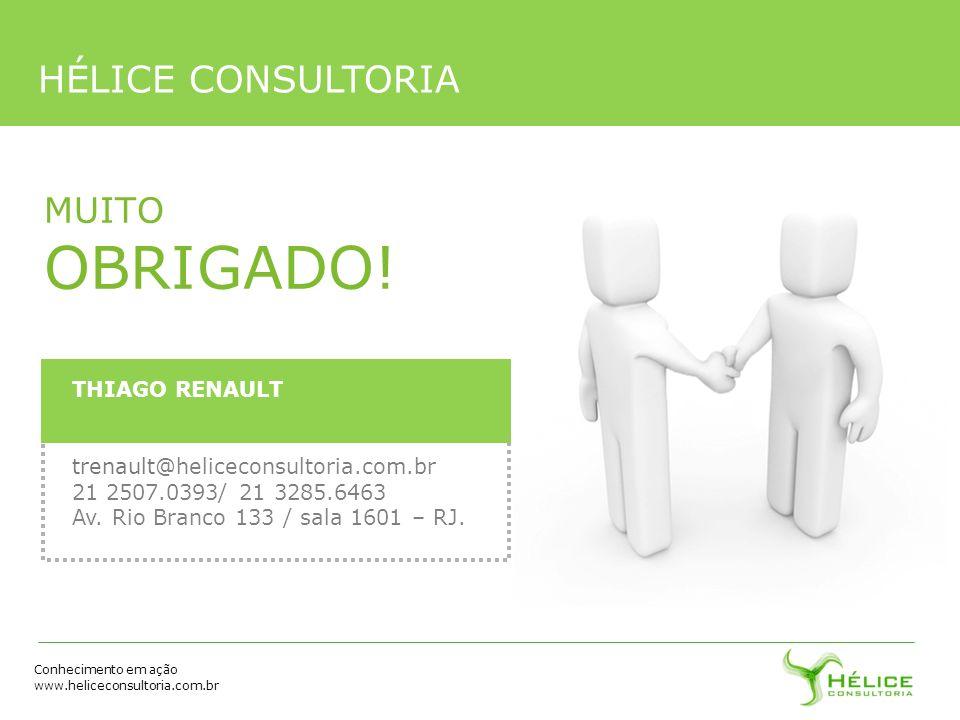 Conhecimento em ação www.heliceconsultoria.com.br MUITO OBRIGADO! HÉLICE CONSULTORIA THIAGO RENAULT trenault@heliceconsultoria.com.br 21 2507.0393/ 21