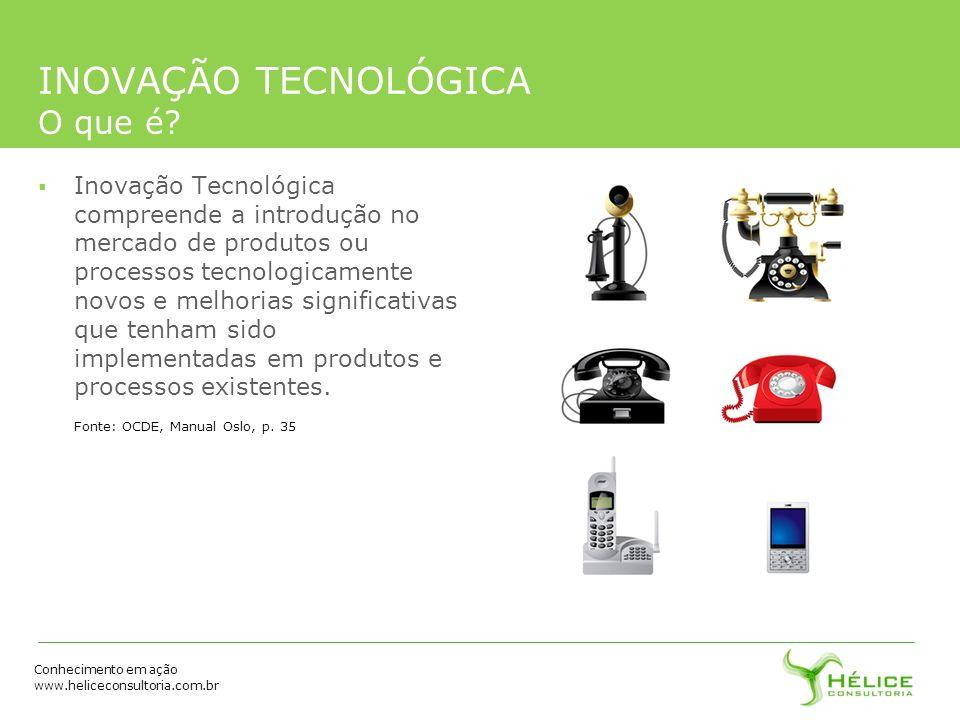 Conhecimento em ação www.heliceconsultoria.com.br INOVAÇÃO TECNOLÓGICA O que é? Inovação Tecnológica compreende a introdução no mercado de produtos ou