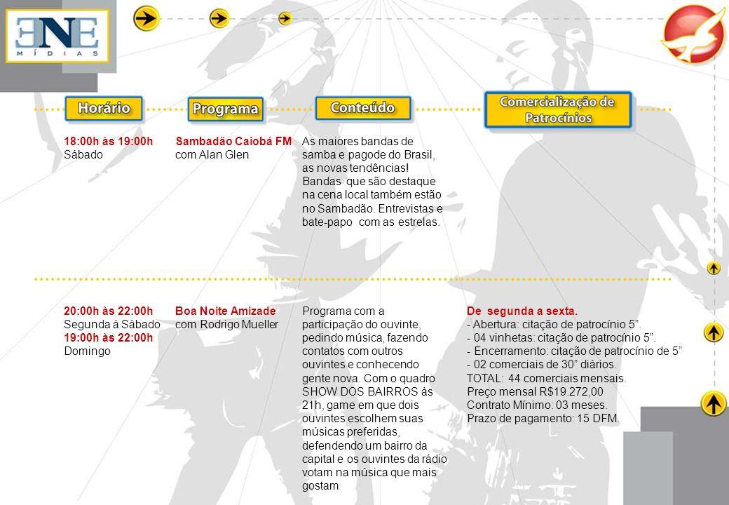 18:00h às 19:00h Sábado Sambadão Caiobá FM com Alan Glen As maiores bandas de samba e pagode do Brasil, as novas tendências! Bandas que são destaque n